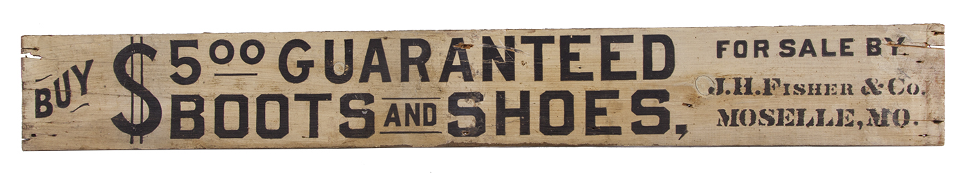 Folky $5 Boots and Shoes Wooden Sign