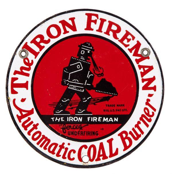 Iron Fireman Coal Porcelain Sign