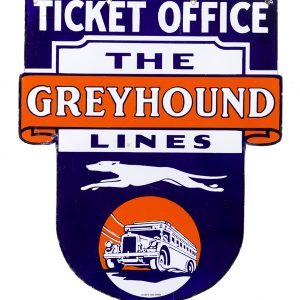 Greyhound Lines Ticket Office Porcelain Sign
