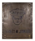 Large Brass Oilzum Sign