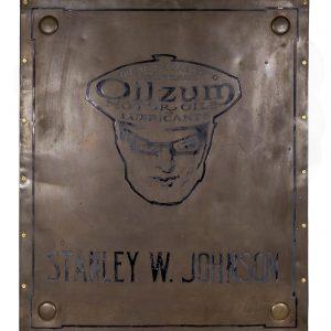 Large Brass Oilzum Sign