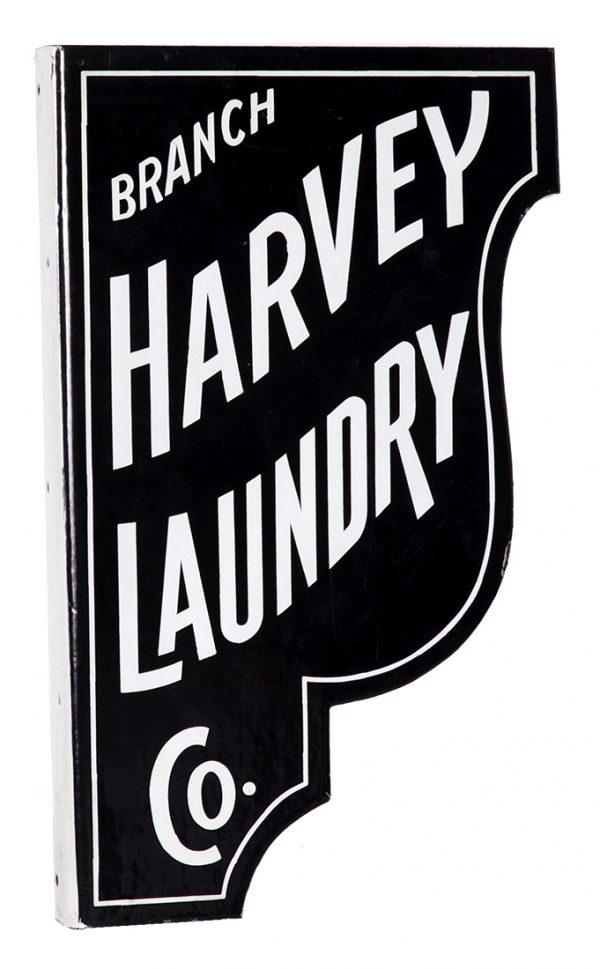 Harvey Laundry Porcelain Sign