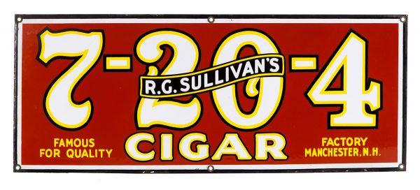 Sullivan's 7-20-4 Cigar Porcelain Sign